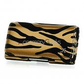 Universal Horizontal Pouch w/ Belt Clip (BM) - Zebra on Gold w/ Black Velvet Trim