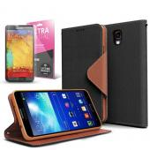 Black/ Brown  Faux Leather Diary Flip Case w/ ID Slots, Bill Fold, Magnetic Closure & Free Screen Protector for Samsung Galaxy Note 3