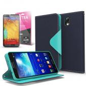 Navy/ Mint CellLine Faux Leather Diary Flip Case w/ ID Slots, Bill Fold, Magnetic Closure & Free Screen Protector for Samsung Galaxy Note 3