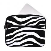 Premium Apple iPad Nylon Sleeve Case w/ Zipper and Front Pocket - Black/White Zebra