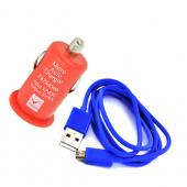 Micro USB School Spirit Charging Bundle w/ Blue Micro USB Charge/ Sync Data Cable &amp; Red USB Car Charger Adapter