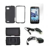 Motorola Atrix 2 Essential Bundle Package w/ Black Rubberized Hard Case, Screen Protector, Leather Pouch, Car &amp; Travel Charger