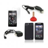 Motorola Droid RAZR Essential Bundle Package w/ Black Crystal Silicone Case, Screen Protector, Red Plunger Stand, Car & Travel Charger