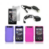 Motorola Droid RAZR Essential Bundle Package w/ Hot Pink &amp; Purple Rubberized Hard Case, Mirror Screen Protector, Car &amp; Travel Charger