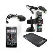 Motorola Droid RAZR Essential Bundle Package w/ Black Rubberized Hard Case, Screen Protector, Car &amp; Travel Charger, &amp; Windshield Car Mount
