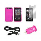 Motorola Droid RAZR Hot Pink Bundle w/ Hot Pink Hard Case, Micro USB Data Cable, Hot Pink USB Car Adapter, & Mirror Screen Protector