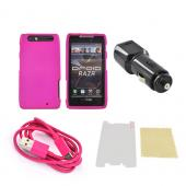 Motorola Droid RAZR Hot Pink Bundle w/ Hot Pink Hard Case, Mirror Screen Protector, Dual Port USB Car Adapter, & Hot Pink Micro USB Data Cable