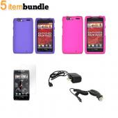 Motorola Droid RAZR MAXX Essential Girly Bundle Package w/ Rose Pink & Purple Rubberized Hard Case, Mirror Screen Protector, Car & Travel Charger