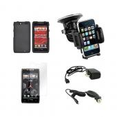 Motorola Droid RAZR MAXX Essential Bundle Package w/ Black Rubberized Hard Case, Screen Protector, Car &amp; Travel Charger, Windshield Car Mount