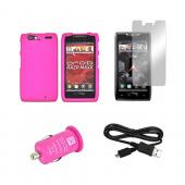 Motorola Droid RAZR MAXX Hot Pink Bundle w/ Hot Pink Hard Case, Micro USB Data Cable, Hot Pink USB Car Adapter, &amp; Mirror Screen Protector