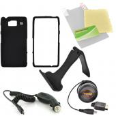 Motorola Droid RAZR HD Essential Bundle Package w/ Black Rubberized Hard Case, Screen Protector, Portable Stand, Car & Travel Charger