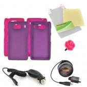 Motorola Droid RAZR HD Essential Girly Bundle Package w/ Hot Pink &amp; Purple Rubberized Hard Case, Screen Protector, Rose Stopple, Car &amp; Travel Charger