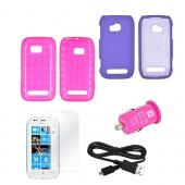 Nokia Lumia 710 Essential Pink Bundle Package w/ Hot Pink Crystal Silicone &amp; Rubberized Hard Case, Mirror Screen Protector, Micro USB Data Cable, &amp; Hot Pink USB Car Adapter
