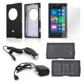 Essential Bundle Package w/ Black Rubberized Hard Case, Screen Protector, Leather Pouch, Car & Travel Charger for Nokia Lumia 1020