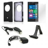 Essential Bundle Package w/ Black Rubberized Hard Case, Screen Protector, Portable Stand, Car & Travel Charger for Nokia Lumia 1020