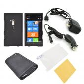 Nokia Lumia 900 Essential Bundle Package w/ Black Rubberized Hard Case, Screen Protector, Leather Pouch, Car & Travel Charger