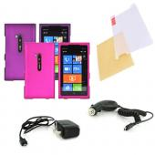 Nokia Lumia 900 Essential Girly Bundle Package w/ Hot Pink & Purple Rubberized Hard Case, Mirror Screen Protector, Car & Travel Charger??