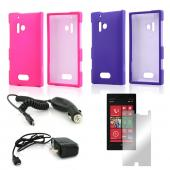 Essential Girly Bundle Package w/ Hot Pink & Purple Rubberized Hard Case, Mirror Screen Protector, Car & Travel Charger for Nokia Lumia 928