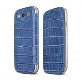 Blue Alligator Samsung Galaxy S3 Leather Textured Diary Flip Battery Door Case