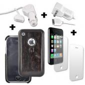 Apple iPhone 3G 3Gs 2 Screen Protectors, 2 Chargers, and Dark Wood Case Bundle