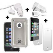 Apple iPhone 3G 3Gs 2 Screen Protectors, 2 Chargers, and Smoke Gray Hard Case Bundle