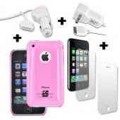 Apple iPhone 3G 3Gs 2 Screen Protectors, 2 Chargers, and Hot Pink Hard Case Bundle