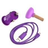 Micro USB Playful Purple Charging Bundle w/ Purple Micro USB Charge/ Sync Data Cable, Purple USB Car Charger Adapter, &amp; Purple Plunger Stand