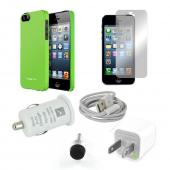 All Inclusive Apple iPhone 5 Bundle: Green Case, Stylus/Dust Protector, Car/Wall Charger, Data Cable, Screen Protector