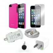 All Inclusive Apple iPhone 5 Bundle: Hot Pink Case, Stylus/Dust Protector, Car/Wall Charger, Data Cable, Screen Protector