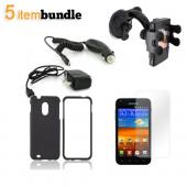 Samsung Epic 4G Touch Essential Bundle Package w/ Black Rubberized Hard Case, Screen Protector, Car &amp; Travel Charger, &amp; Windshield Car Mount 