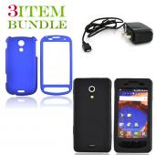 Samsung Epic 4G Bundle Package - Blue Hard Case, Silicone Case & Travel Charger - (Essential Combo)