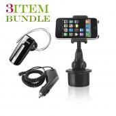 Samsung Fascinate Bundle Package - Macally Cup Holder, Car Charger &amp; Samsung WEP460 Bluetooth Headset - (Roadster Combo)