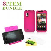 Samsung Fascinate Bundle Package - Rubberized Rose Pink Hard Case, Pink Suction Plunger Stand &amp; Mirror Screen Protector - (Geeky in pink Combo)