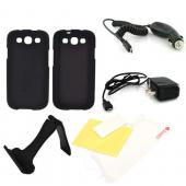 Samsung Galaxy S3 Essential Bundle Package w/ Black Rubberized Hard Case, Screen Protector, Portable Stand, Car & Travel Charger
