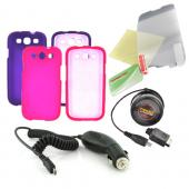 Samsung Galaxy S3 Essential Girly Bundle Package w/ Hot Pink &amp; Purple Rubberized Hard Case, Mirror Screen Protector, Car &amp; Travel Charger