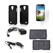 Essential Bundle Package w/ Black Rubberized Hard Case, Screen Protector, Leather Pouch, Car & Travel Charger for Samsung Galaxy S4