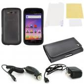 Samsung Galaxy S Blaze 4G Essential Bundle Package w/ Black Rubberized Hard Case, Screen Protector, Leather Pouch, Car & Travel Charger