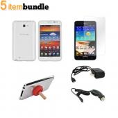 Samsung Galaxy Note Essential Bundle Package w/ Clear Crystal Silicone Case, Screen Protector, Red Plunger Stand, Car & Travel Charger