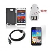 Samsung Galaxy Note Essential Bundle Package w/ Black Rubberized Hard Case, Trident Car Charger (3100 mAh), & Screen Protector