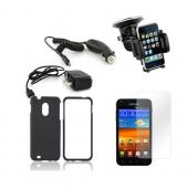 Samsung Galaxy Nexus Essential Bundle Package w/ Black Rubberized Hard Case, Screen Protector, Car &amp; Travel Charger, Windshield Car Mount