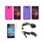 Samsung Galaxy S2 Skyrocket Essential Bundle Package w/ Rose Pink &amp; Purple Rubberized Hard Case, Screen Protector, Car &amp; Travel Charger