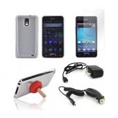 Samsung Galaxy S2 Skyrocket Essential Bundle Package w/ Clear Crystal Silicone Case, Screen Protector, Red Plunger Stand, Car &amp; Travel Charger