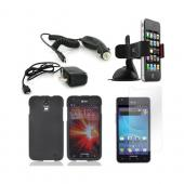 Samsung Galaxy S2 Skyrocket Essential Bundle Package w/ Black Rubberized Hard Case, Screen Protector, Car &amp; Travel Charger, &amp; Windshield Car Mount