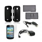 Samsung Galaxy Stellar Essential Bundle Package w/ Black Rubberized Hard Case, Screen Protector, Leather Pouch, Car & Travel Charger
