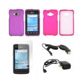 Samsung Rugby Smart i847 Essential Girly Bundle Package w/ Hot Pink & Purple Rubberized Hard Case, Anti-Glare Screen Protector, Car & Travel Charger