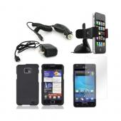 AT&amp;T Samsung Galaxy S2 Essential Bundle Package w/ Black Rubberized Hard Case, Anti-Glare Screen Protector, Car &amp; Travel Charger, &amp; Windshield Car Mount
