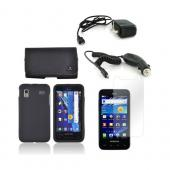 Samsung Captivate Glide i927 Essential Bundle Package w/ Black Rubberized Hard Case, Screen Protector, Leather Pouch, Car &amp; Travel Charger
