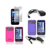 Samsung Captivate Glide i927 Essential Girly Bundle Package w/ Hot Pink &amp; Purple Rubberized Hard Case, Mirror Screen Protector, Car &amp; Travel Charger