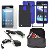 Samsung Infuse 4G Essential Bundle w/ Black & Blue Rubberized Hard Case, Screen Protector, Leather Pouch, Travel & Car Charger Charger