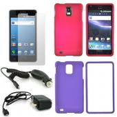Samsung Infuse 4G Essential Bundle w/ Rose Pink & Purple Rubberized Hard Case, Screen Protector, Travel & Car Charger Charger